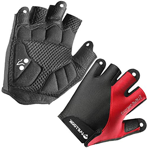 Letook Men's Padded Half Finger Bike Gloves with Breathable Mesh Shock-Absorbing Air Ventilation Palm Summer Cycling Gloves for MTB Bicycle Riding Red XL
