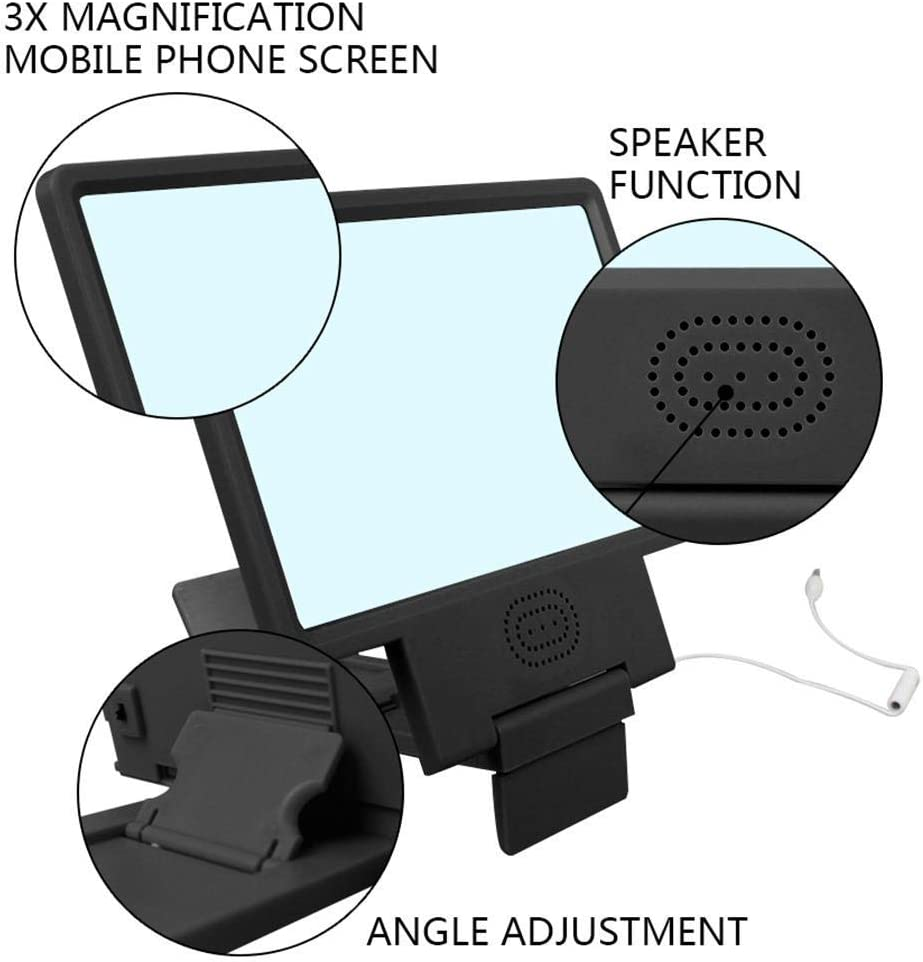 DPSLYXCD 14 Inch Mobile Phone Screen Magnifier Foldable Portable Stand 3D HD Amplifier Phone Projector-White