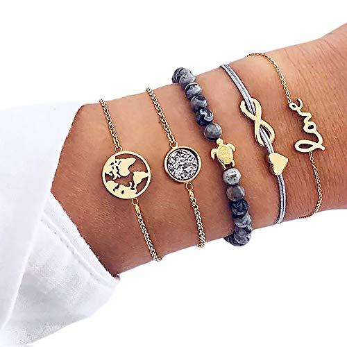 Suyi 5Pcs Layered Bracelet Set Stackable Wrap Bangle Adjustable Beads Bracelet for Women Girls Gold