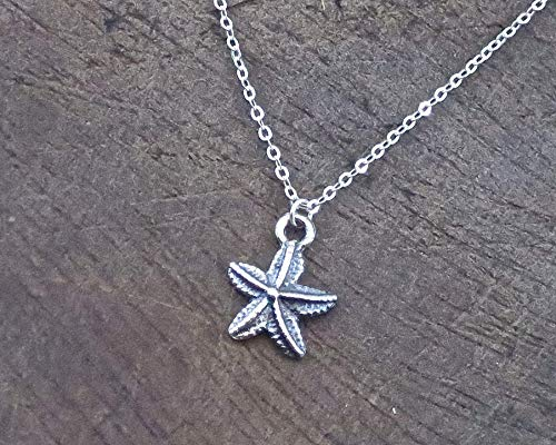 Sterling Silver Starfish Pendant Necklace, Dainty and Minimalist Summer Beach Nautical Charm Necklace for Women and Girls, Handmade Bohemian ()