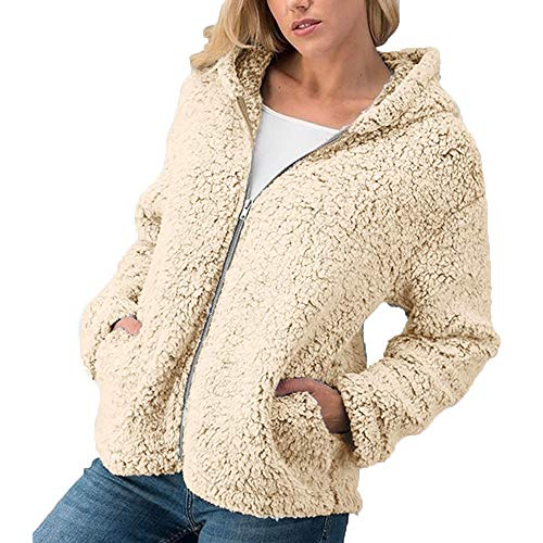 Kimloog Women's Casual Hooded Fleece Coat Fuzzy Faux Shearling Zipper Jacket Outwear (Khaki,L)