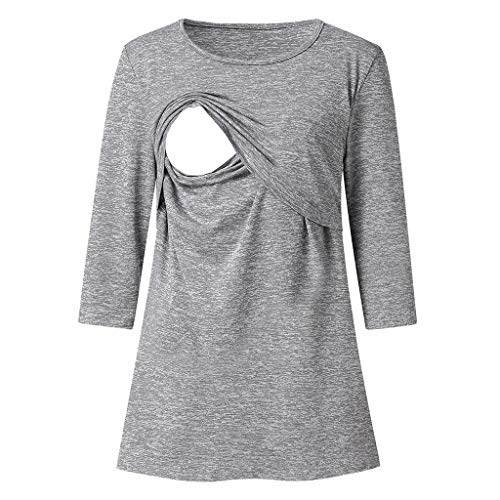 Women's Maternity Nursing T-Shirt,Dacawin Ladies Seven Quarter Sleeve Solid Color Casual Top Breastfeeding Blouse (Gray, Large) ()