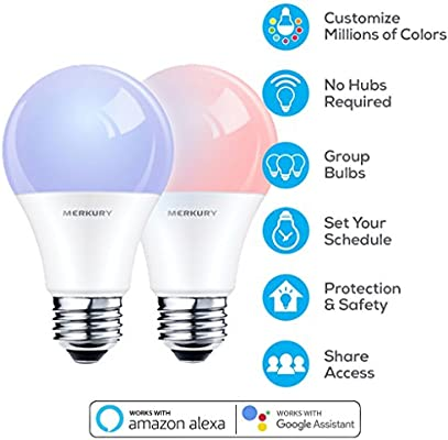 merkury innovations smart wi fi led color light bulbs 2 pack