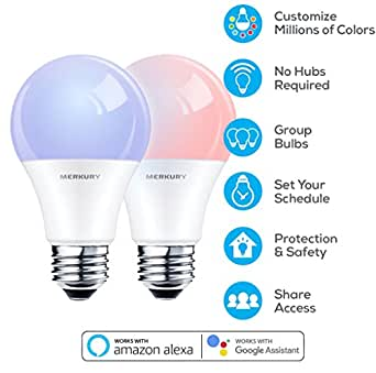 merkury innovations smart wi fi led color light bulbs 2 pack compatible w alexa and google home. Black Bedroom Furniture Sets. Home Design Ideas