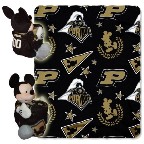 The Northwest Company Officially Licensed NCAA Purdue Boilermakers Co-Branded Disney's Mickey Hugger and Fleece Throw Blanket Set -