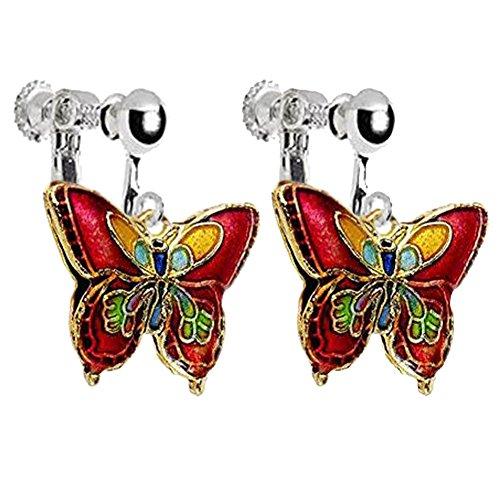 Enamel Butterfly Clip on Earrings for Girls Women Princess Birthday DIY Jewelry (Red)