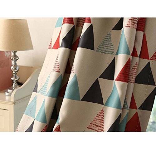 100*250cm poli/éster levoberg cortina opaca con ojales rojo dise/ño geom/étrico cortina aislamiento ventana habitaci/ón infantil 100/* 250/cm