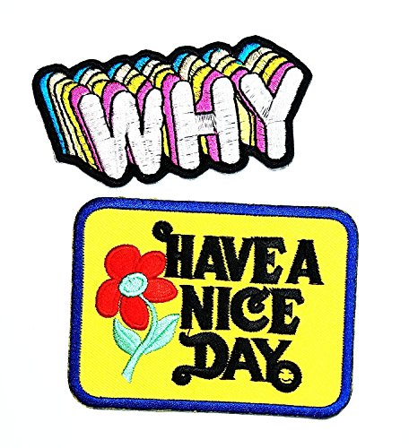HAVE A NICE DAY WHY Set 2 Cartoon Sew Iron on Embroidered Applique Craft Handmade Baby Kid Girl Women Cloths DIY Costume (Australia Day Costumes Uk)