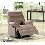 Container Furniture Direct S6018 Contemporary Microfiber Recliner Chair, Beige