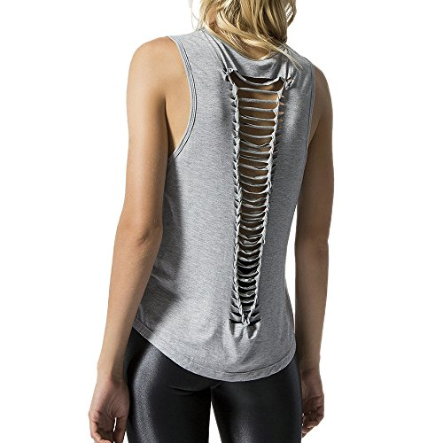 Price comparison product image Luca-Tank tops Women's Perspective Sleeveless Back Hollow Holes Vest Daily Top Camisole T Shirt Blouse (M, Gray)