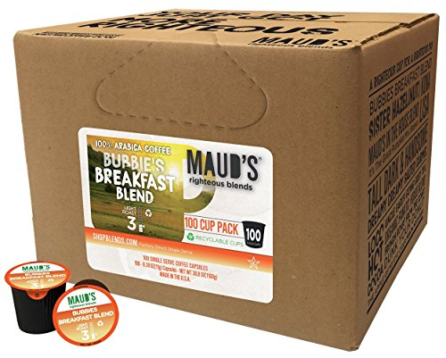 Maud's Gourmet Coffee Pods - Bubbies Breakfast Blend, 100-Count Single Serve Coffee Pods - Richly Satisfying Premium Arabica Beans, California-Roasted - Kcup Compatible, Including (Breakfast Blend Light)