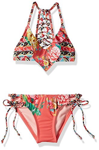 Hobie Big Girls' Triangle Bra Top and Faux Tie Hipster Bottom Swimsuit Set, Hot Coral, (Big Triangle)
