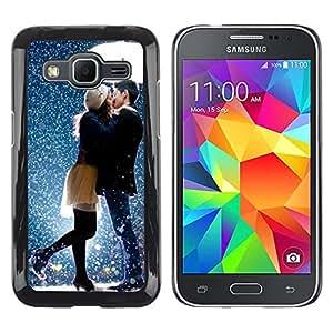 Be Good Phone Accessory // Dura Cáscara cubierta Protectora Caso Carcasa Funda de Protección para Samsung Galaxy Core Prime SM-G360 // Kiss Sweet Couple Snow Romantic
