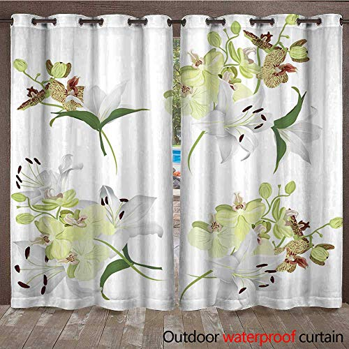 RenteriaDecor Outdoor Balcony Privacy Curtain Lilies and Tiger Orchids Bouquet Vector Design Elements W72 x L108 (Lily Tiger Drapes)