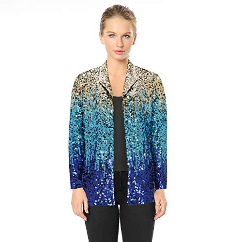 - Metme Women's Gradient Sequin Jackets, Sparkly Long Sleeves Open Front Cardigans Jacket Party Club wear
