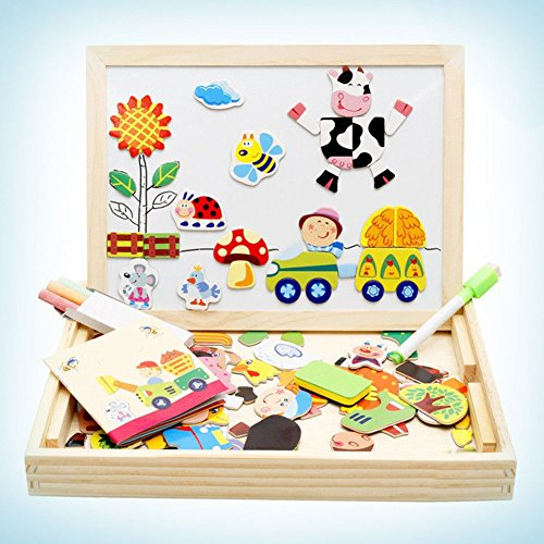 XRy木製おもちゃ磁気パズルキッズ木製ゲーム、ダブル面Jigsaw &図面Easel黒板、ジグソーパズルゲームfor Kids