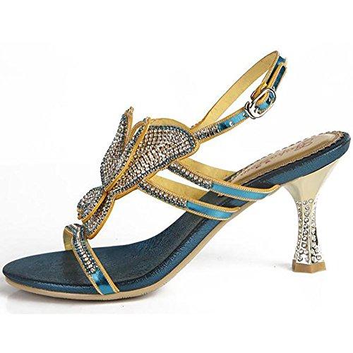 SYYAN Mujeres Cuero Piedras De Strass Mariposa Hueco Punta Abierta Hecho A Mano Puro Bomba Vestir Sandalias Azul Blue