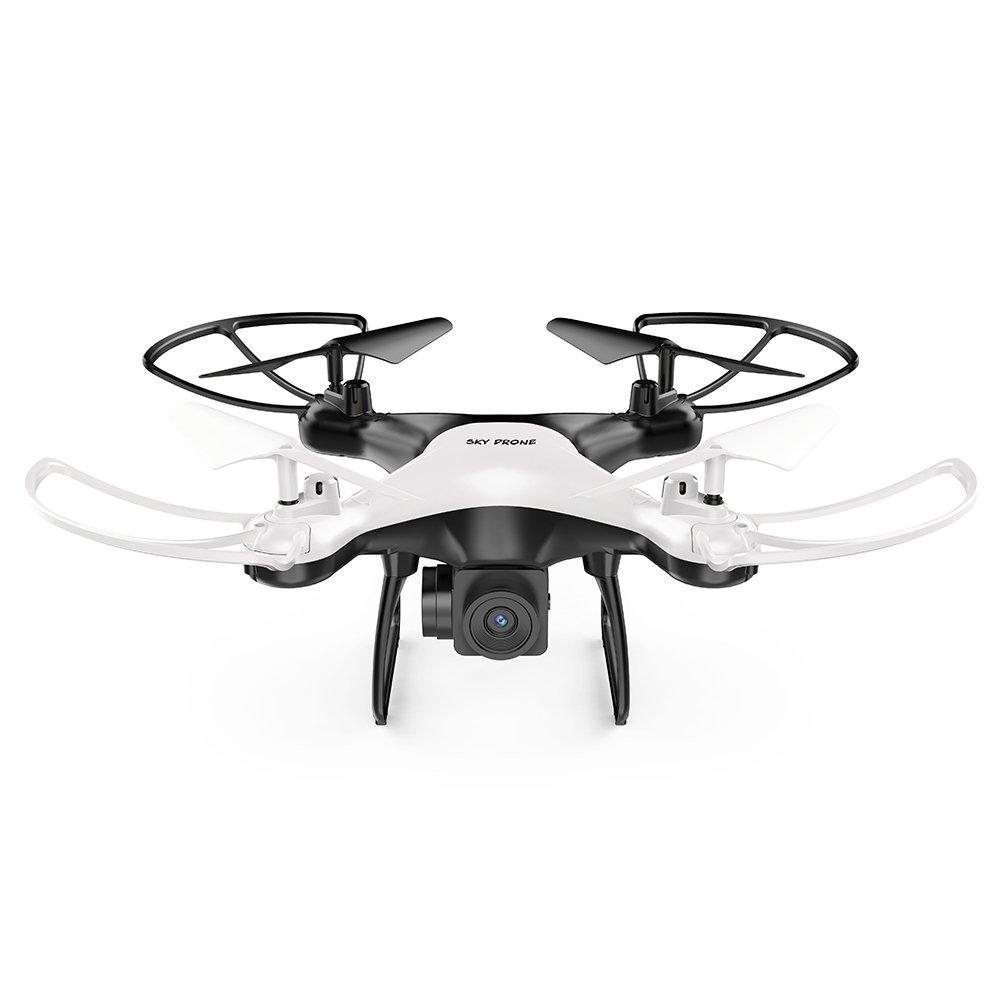 Springdiot 720P Kamera vierachsige Flugzeuge Hochleistungs-6-Achsen-Gyro-LED-Beleuchtung Höhe um Drohne Lange Akkulaufzeit (schwarz und weiß) zu erhalten