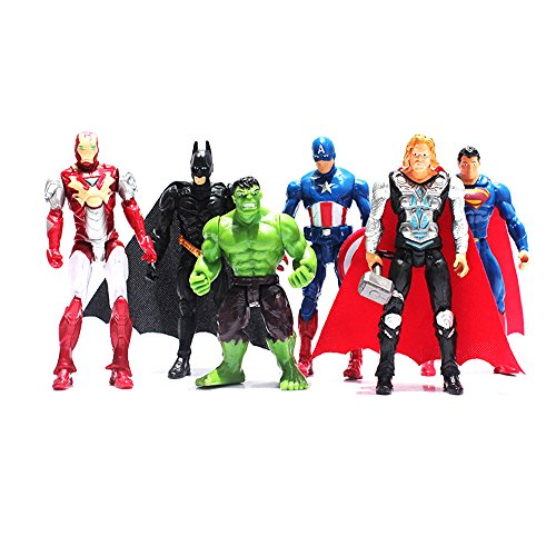 Avengers Figures Set Poseable Action Marvel - 6 Pcs