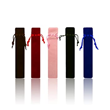 Zhi Jin 20pcs único terciopelo cordón Pen pouch funda soporte para bolígrafo regalo lápiz bolsa Set, color azul