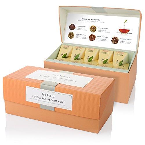 Tea Forte Presentation Box Sampler with 20 Handcrafted Pyramid Tea Infusers - Herbal Tea Assortment