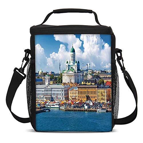 (Cityscape Fashionable Lunch Bag,Scenic Summer of the Market Square Old Town Helsinki Finnish Northern Skyline Home for Travel Picnic,One size)