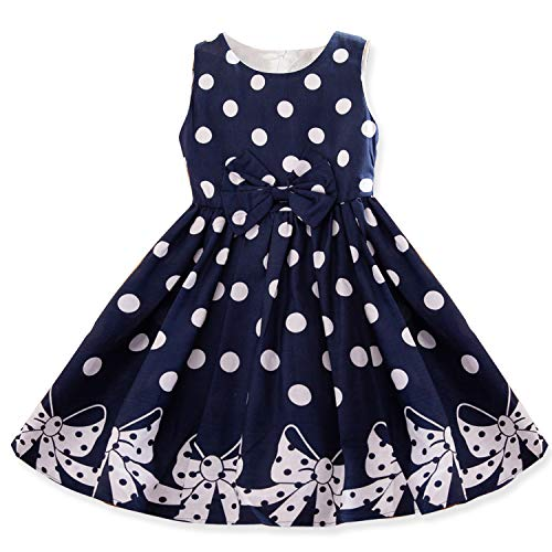 Dotted Sleeveless Dress - NNJXD Girl Sleeveless Polka Dotted Dress,Summer Casual Party Dress Size 7-8 Years Blue