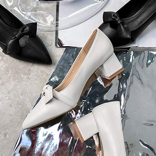 Female Black Black Shoes Yukun Single Thick Mouth With Heels Casual Pointed High High heels Bow Shallow ZnZq78Sw