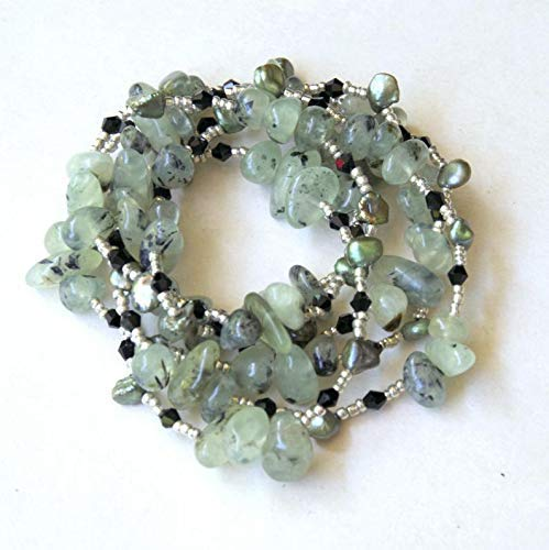 (Double Wrap Prehnite Keishi Pearls Necklace Very Long 45 inches Mint Green Black Special Occasion Luxury Artisan Jewelry OOAK )