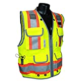 Vero1992 Reflective Vest Class 2 Heavy Woven Two Tone Engineer Hi Viz Yellow Safety Vest 3M 8712 Tape (Medium, Yellow)
