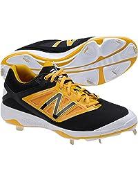 New Balance Mens L4040v3 Low Metal Cleats Black/Yellow 2E 9