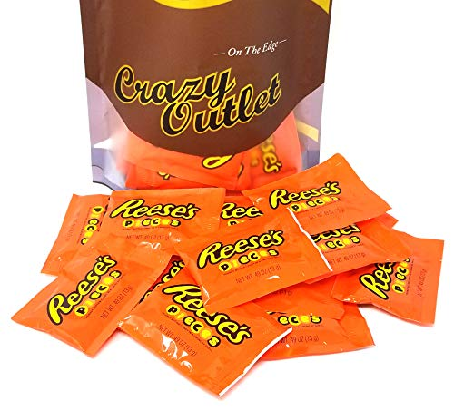 CrazyOutlet Pack - Reese's Pieces Crunchy Shell, Peanut Butter Candy Fun Snack Size, 0.49-Ounce Pouch (Pack of - Pieces Individually Wrapped