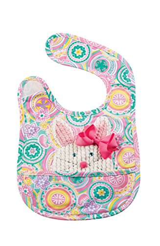 Mud Pie Baby-Girls Newborn Bunny Pocket Bib with Removable Bow, Multi, One (Removable Bow)