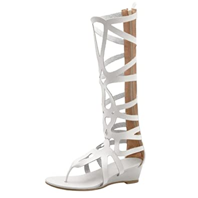 COOLCEPT Damen Mode Zipper Gladiator Sandalen