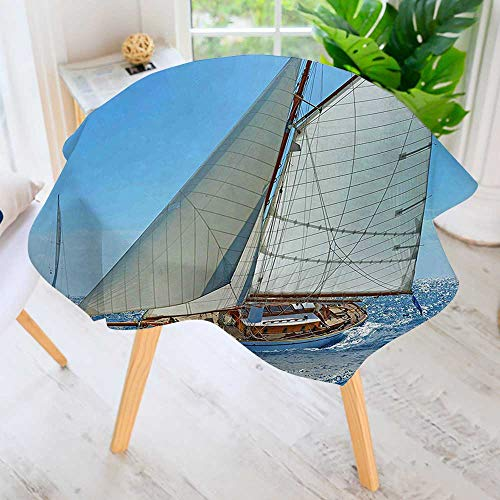 (aolankaili Circular Table Cover Washable Polyester-Deluxe Sailboat on Sea Regatta Race Yatch Windy Weather Competition Stain Resistant Wrinkle Free Dust Table Cover 71