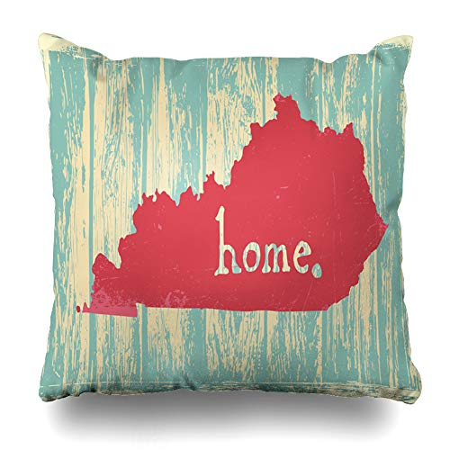 DIYCow Throw Pillows Covers Area Kentucky Nostalgic Rustic Vintage State Sign Map Home Decor Pillowcase Square Size 20 x 20 Inches Cushion Case