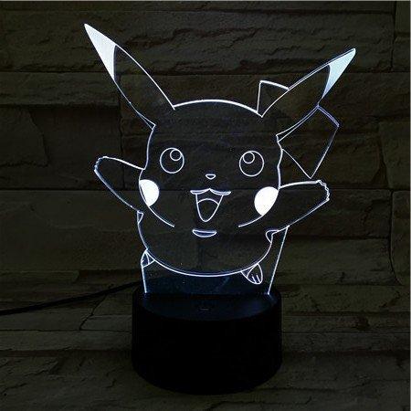 Price comparison product image LE3D 3D Optical Illusion Desk Lamp / 3D Optical Illusion Night Light,  7 Color LED 3D Lamp,  Pokemon 3D LED For Kids and Adults,  Pikachu Light Up