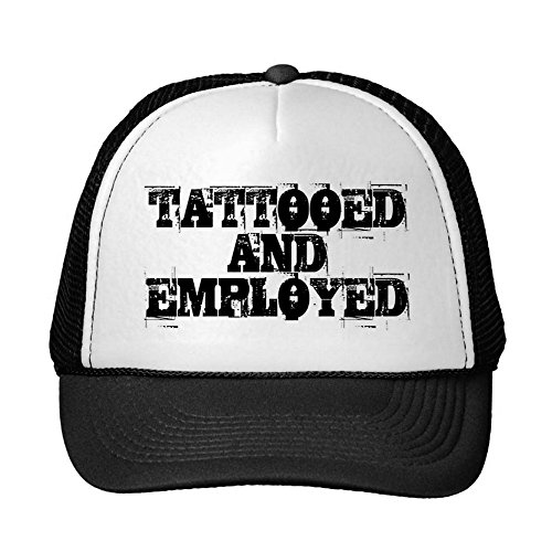 - starings Unisex Adult Trucker Cap -Tattooed and Employed Cap Trucker Hat Black