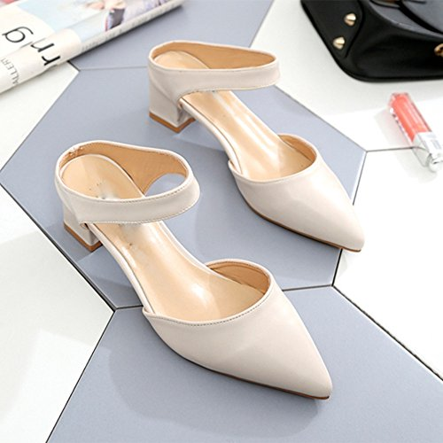 Sandals NAN New Half Slippers Female Summer Tips High Heels Outer Wear Slippers Thick Heels Medium Heel Looners Off White Apricot Color (Color : Off white, Size : EU38/UK5.5/CN38) Off White