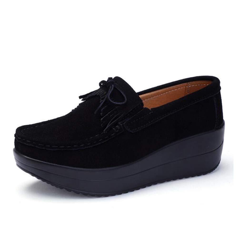 LCM Damenschuhe große Damen Schuhe dicken Unterschuh weibliche Flache Steigung mit Einzelschuhen eine Vielzahl von Farbe runden Kopfschuhen,3,5UK