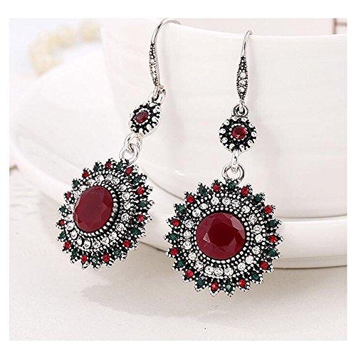Darkey Wang Woman Fashion Jewelry Retro Bohemian National Wind Sunflowers Eearrings( Red)