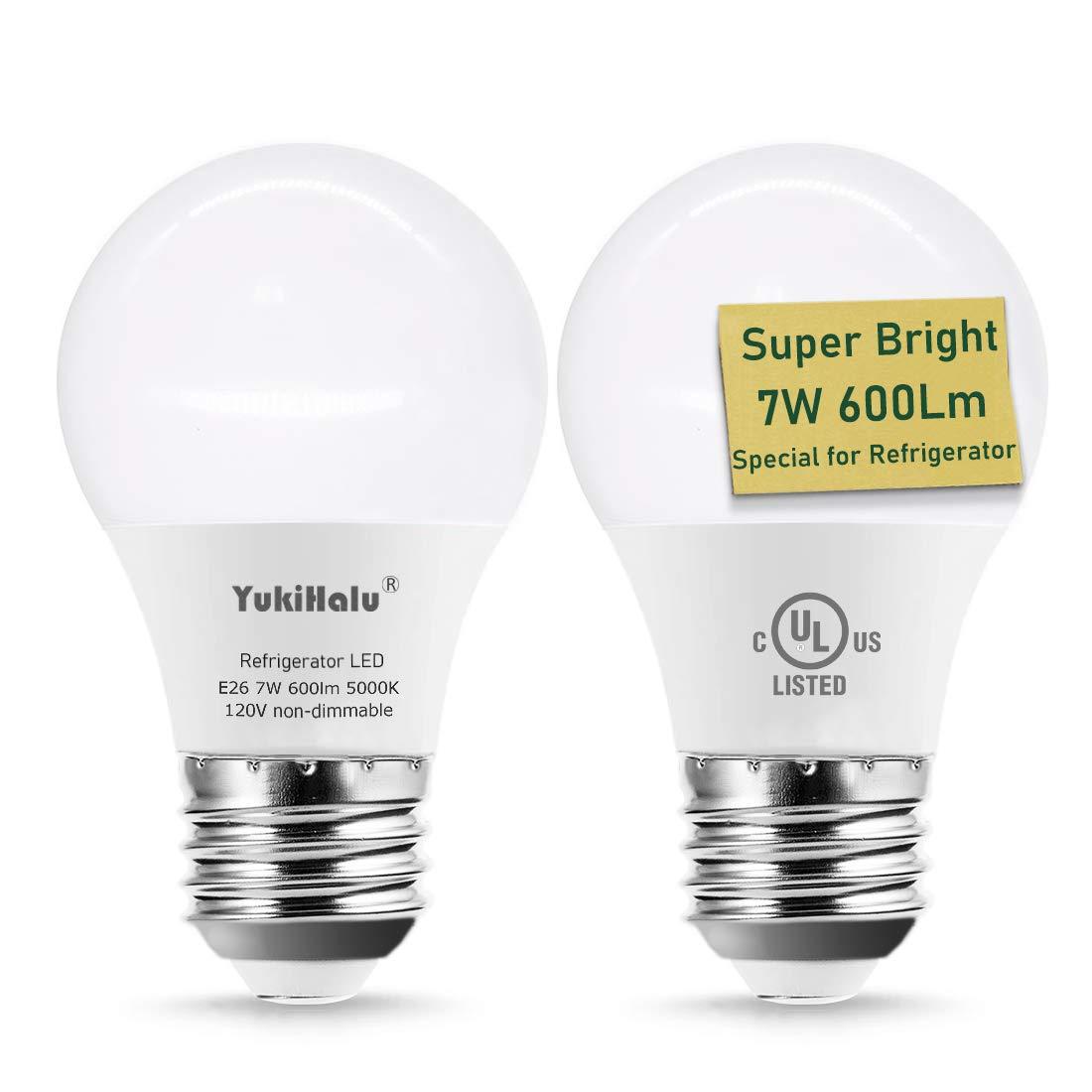 YUKIHALU, LED Refrigerator Light Bulb 40W-60W Equivalent A15 Appliance Fridge Bulbs, Waterproof 600 Lumen 7W 120V Daylight 5000K E26 Medium Base, Small Size Bulb for Damp Location, Not-Dim, 2-Pack