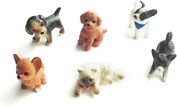 6 Stücke 1//12 Puppenhaus Handwerk Tierfiguren Miniatur Hund Welpen Figuren