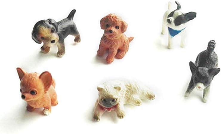 LyGuy 6 Pezzi 1:12 Gatto E Cane Casa delle Bambole Modello in Miniatura Casa delle Bambole Casa Decorazione Muschio Modelli in Miniatura Regalo per Bambini