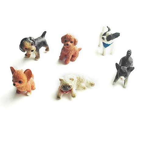 JERKKY 6 Piezas 1:12 Casa de Muñecas de Gatos y Perros Modelo en Miniatura Casa de Muñecas Casa Musgo Decoración