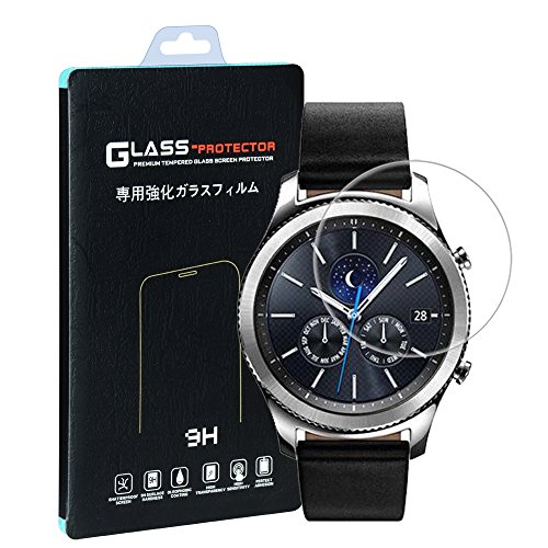 Samsung Gear S3 Classic / Frontier Screen Protector [2 PACK], Qosea Ultra-thin 2.5D 9H Hardness Crystal Clear Scratch Resistant Tempered Glass Screen Protector for Samsung Galaxy Gear S3 Smart Watch (Samsung Gears Screen Protector compare prices)