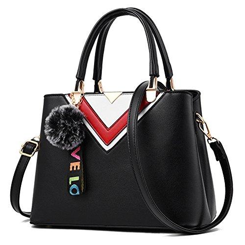 RUIREN Ladies Messenger Bag Handbag, Bolsos de Hombro Multifuncionales Portátiles para Mujeres Negro