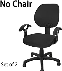 BTSKY Computer Office Chair Covers- Universal Stretchable Chair Cover Polyester Chair Cover Washable Rotating Chair Slipcover 2 Sets (Black)