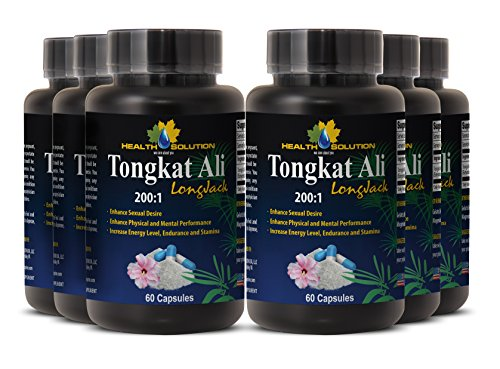 Eurycoma longifolia extract - Tongkat Ali 200:1 Premium Extract - Herbal testosterone supplements(6 Bottles - 360 Capsules) by Health Solution Prime