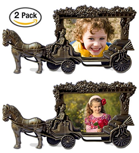 "Olivery Horse Carriage Photo Frame - 4"" X 6"" Picture Frames - Cute Tin Alloy & Glass Home Decor - 2 Packs - Great Baby Gift, Wedding Gift & More"